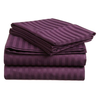 Simple Luxury 300 Thread Count Egyptian Cotton Stripe Sheet Set - Color: Plum, Size: Split King at Sears.com