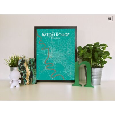 Baton Rouge City Map' Graphic Art Print Poster in Green Size: 24