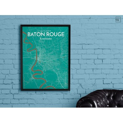 Baton Rouge City Map' Graphic Art Print Poster in Green Size: 20
