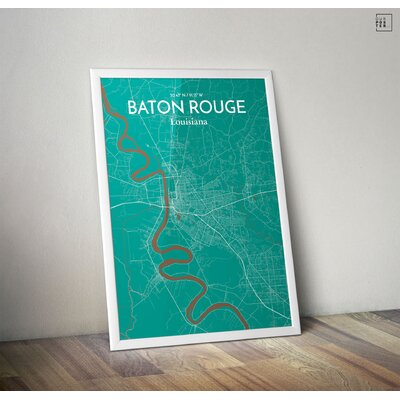 Baton Rouge City Map' Graphic Art Print Poster in Green Size: 27.56