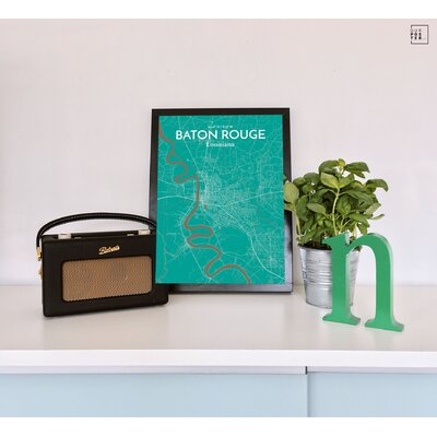 Baton Rouge City Map' Graphic Art Print Poster in Green Size: 36