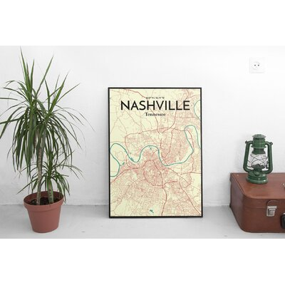 'Nashville City Map' Graphic Art Print Poster in Beige Size: 17
