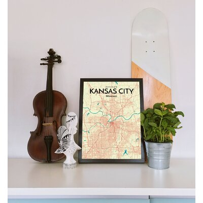 'Kansas City City Map' Graphic Art Print Poster in Beige Size: 17