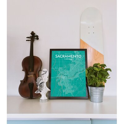 Sacramento City Map' Graphic Art Print Poster in Green Size: 17