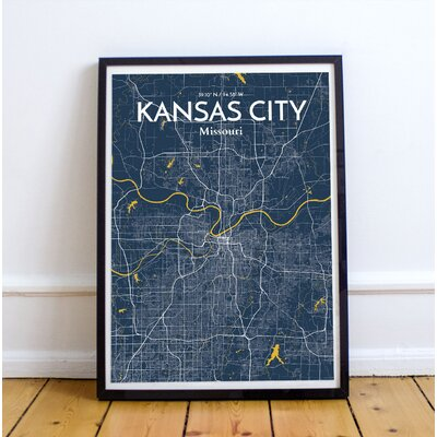Kansas City City Map' Graphic Art Print Poster in Blue Size: 17