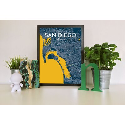 San Diego City Map' Graphic Art Print Poster in Blue Size: 17