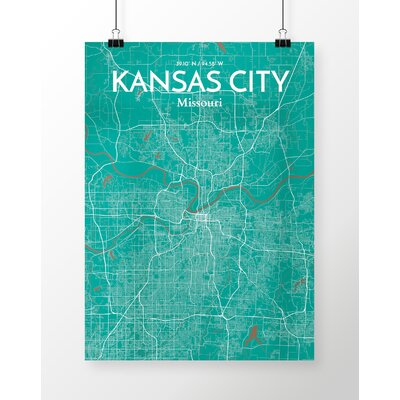 Kansas City City Map' Graphic Art Print Poster in Green Size: 17