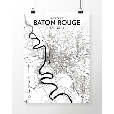 Baton Rouge City Map' Graphic Art Print Poster in Ink/White Size: 17