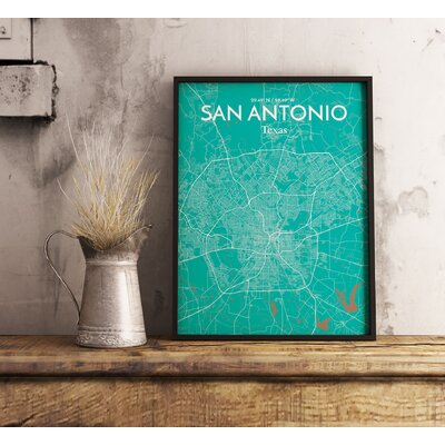 San Antonio City Map' Graphic Art Print Poster in Green Size: 17