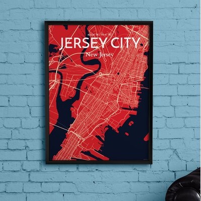 Jersey City City Map' Graphic Art Print Poster in Red Size: 17
