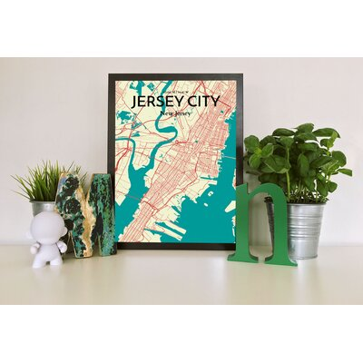 'Jersey City City Map' Graphic Art Print Poster in Beige Size: 17