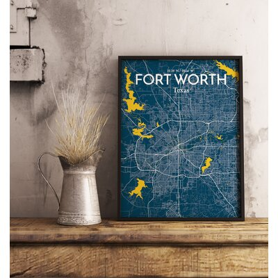 Fort Worth City Map' Graphic Art Print Poster in Blue Size: 17