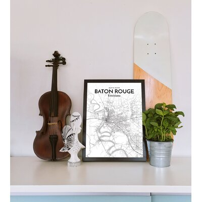 Baton Rouge City Map' Graphic Art Print Poster in White Size: 17