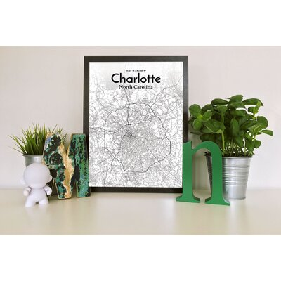 Charlotte City Map' Graphic Art Print Poster in White Size: 17