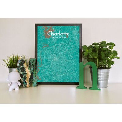 Charlotte City Map' Graphic Art Print Poster in Green Size: 17