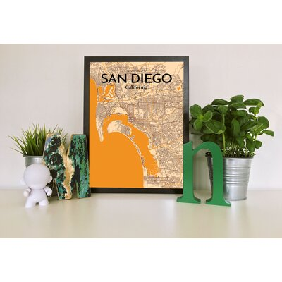 'San Diego City Map' Graphic Art Print Poster in Light Orange Size: 17