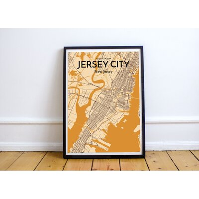 'Jersey City City Map' Graphic Art Print Poster in Light Orange Size: 17