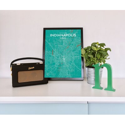 Indianapolis City Map' Graphic Art Print Poster in Green Size: 17