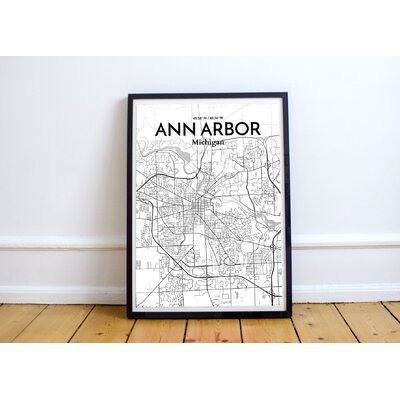 Ann Arbor City Map' Graphic Art Print Poster in White Size: 17