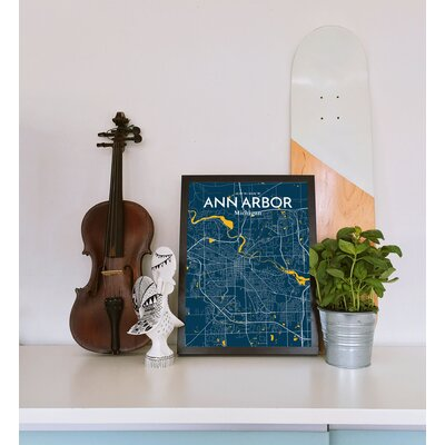 Ann Arbor City Map' Graphic Art Print Poster in Blue Size: 17