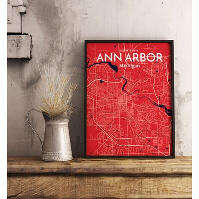 Ann Arbor City Map' Graphic Art Print Poster in Red Size: 17