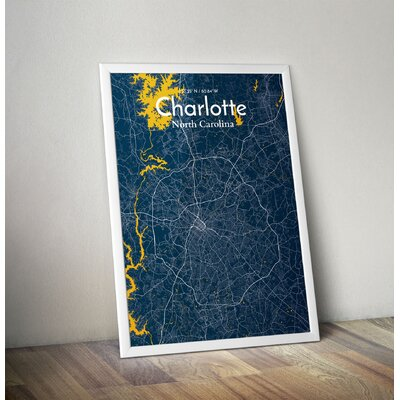 Charlotte City Map' Graphic Art Print Poster in Blue Size: 17