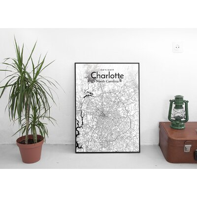 Charlotte City Map' Graphic Art Print Poster in Ink/White Size: 17