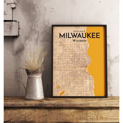 Milwaukee City Map' Graphic Art Print Poster in Beige Size: 17
