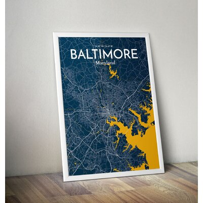 Baltimore City Map' Graphic Art Print Poster in Blue Size: 17