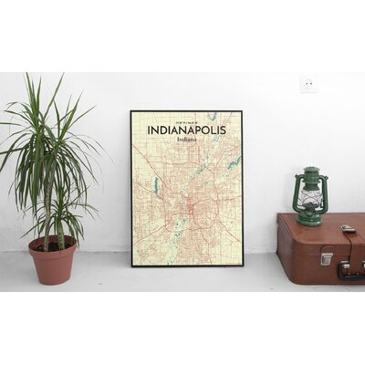 'Indianapolis City Map' Graphic Art Print Poster in Beige Size: 17