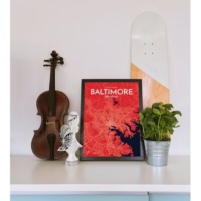 Baltimore City Map' Graphic Art Print Poster in Red Size: 17