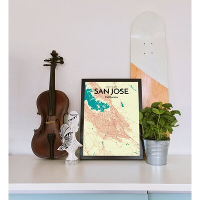 'San Jose City Map' Graphic Art Print Poster in Beige Size: 17