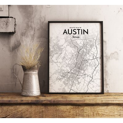 Austin City Map' Graphic Art Print Poster in White/Gray Size: 17