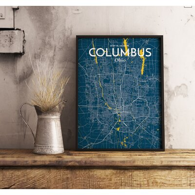 Columbus City Map' Graphic Art Print Poster in Blue Size: 17