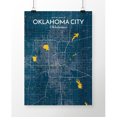 Oklahoma City City Map' Graphic Art Print Poster in Blue Size: 17