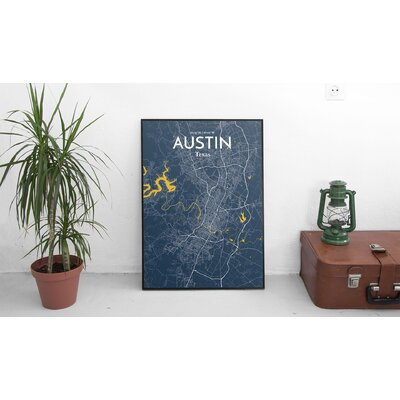 Austin City Map' Graphic Art Print Poster in Blue Size: 17