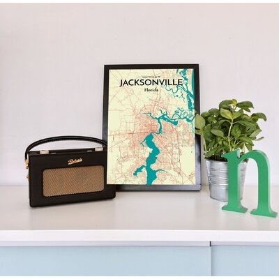 'Jacksonville City Map' Graphic Art Print Poster in Beige Size: 17