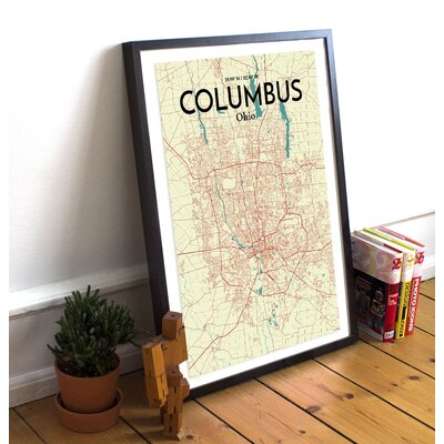 Columbus City Map' Graphic Art Print Poster in Beige Size: 17