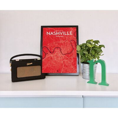 Nashville City Map' Graphic Art Print Poster in Red Size: 17