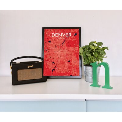 Denver City Map' Graphic Art Print Poster in Red Size: 17