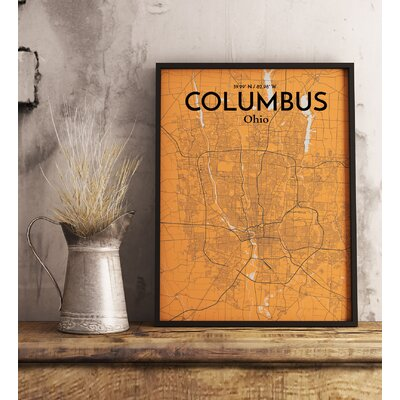 Columbus City Map' Graphic Art Print Poster in Orange Size: 17