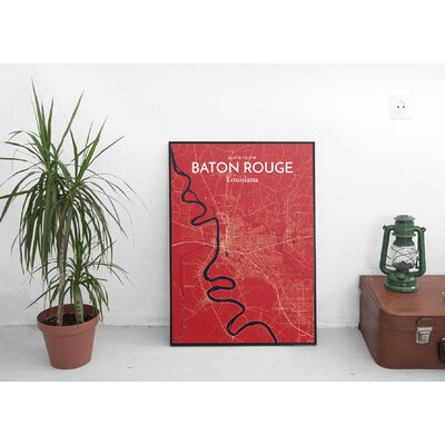 Baton Rouge City Map' Graphic Art Print Poster in Red Size: 17