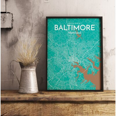 Baltimore City Map' Graphic Art Print Poster in Green Size: 17