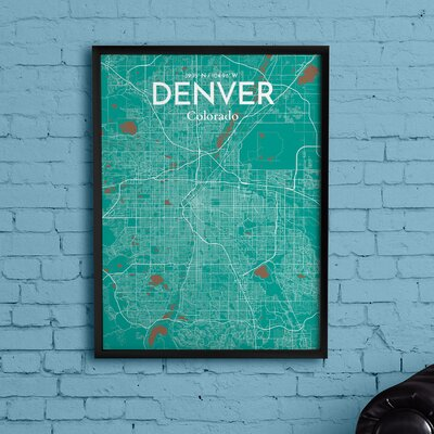 Denver City Map' Graphic Art Print Poster in Green Size: 17