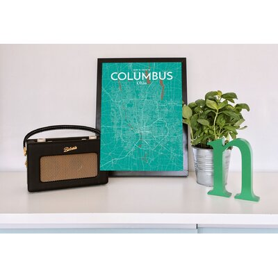 Columbus City Map' Graphic Art Print Poster in Green Size: 17