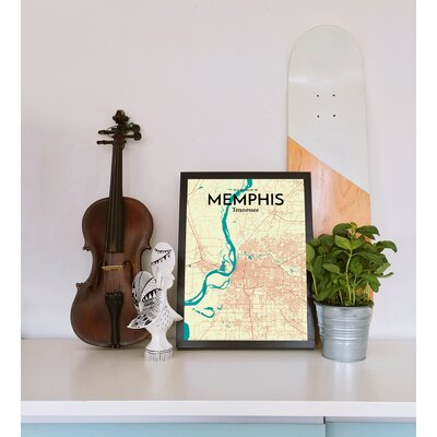 'Memphis City Map' Graphic Art Print Poster in Beige Size: 17