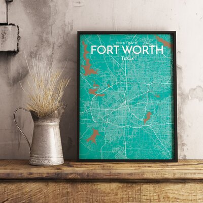 Fort Worth City Map' Graphic Art Print Poster in Green Size: 17
