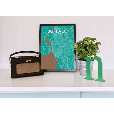 Buffalo City Map' Graphic Art Print Poster in Green Size: 17