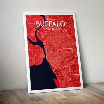 Buffalo City Map' Graphic Art Print Poster in Red Size: 17