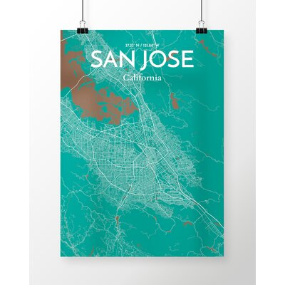 San Jose City Map' Graphic Art Print Poster in Green Size: 17